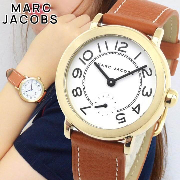 【送料無料】 MARC JACOBS マーク ジェイコブス RILEY ライリー MJ1574 レディース 腕時計 革ベルト レザー クオーツ アナログ 白 ホワイト 茶 ブラウン 海外モデル