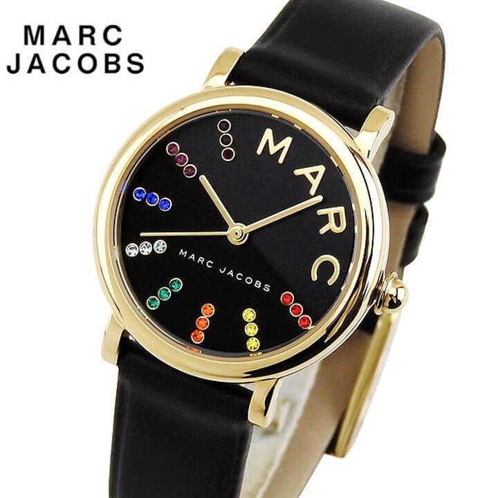 【】 MARC JACOBS マーク ジェイコブス Classic クラシック レディース 腕時計 革バンド レザー 黒 ブラック 金 ゴールド マルチカラー カジュアル クオーツ アナログ MJ1592 海外モデル 誕生日プレゼント ギフト