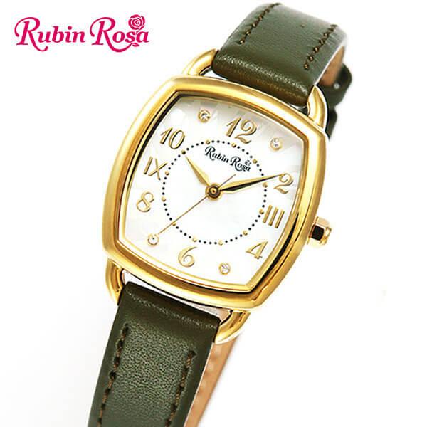 【ノベルティ付き】【送料無料】 Rubin Rosa R020YWHKH 国内正規品 レディース 腕時計 ウォッチ 革ベルト レザー ソーラー アナログ 白 ホワイト 緑 カーキ 商品到着後レビューを書いて7年保証