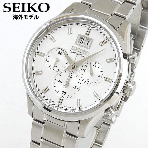 【先着!250円OFFクーポン】SEIKO セイコー SPC079P1 海外モデル メンズ 腕時計 ウォッチ クロノグラフ 白 ホワイト 銀 シルバー 逆輸入 誕生日プレゼント 男性 ギフト ブランド