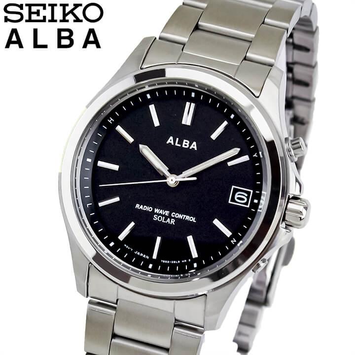 SEIKO セイコー ALBA アルバ AEFY502 国内正規品 メンズ 腕時計 ウォッチ メタル バンド 電波ソーラー アナログ 黒 ブラック 銀 シルバー 商品到着後レビューを書いて7年保証 誕生日プレゼント 男性 ギフト