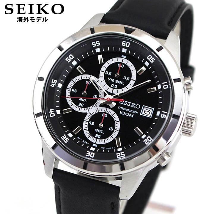 【】 SEIKO セイコー SKS571P1 逆輸入 海外モデル メンズ 腕時計 ウォッチ 革ベルト レザー クオーツ ビジネス スーツ アナログ 黒 ブラック 銀 シルバー 誕生日プレゼント 男性 ギフト