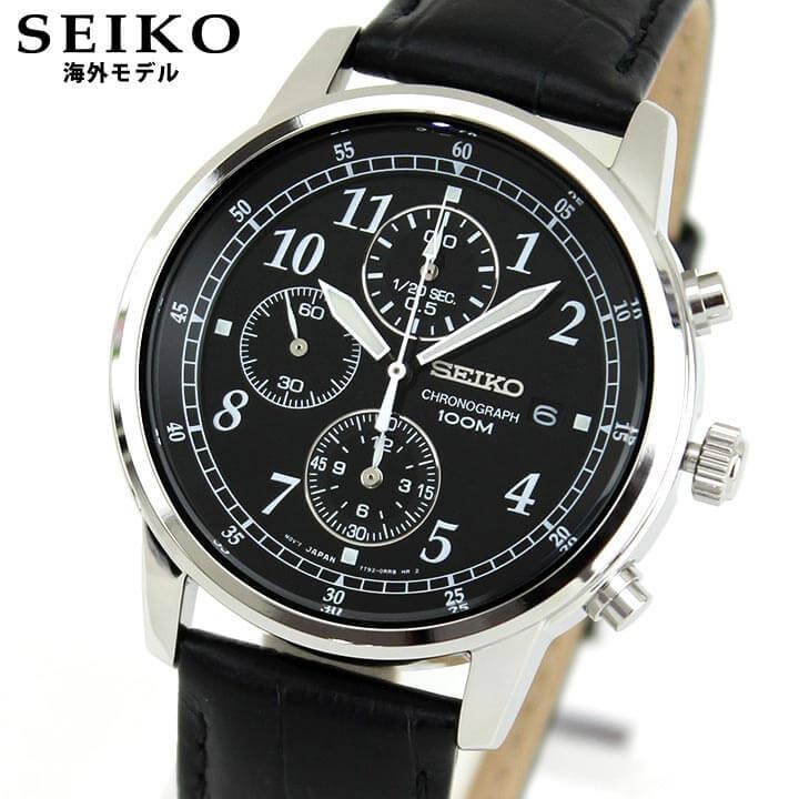 SEIKO セイコー 逆輸入 海外モデル SNDC33P1 メンズ 腕時計 ウォッチ 革ベルト レザー クオーツ アナログ 黒 ブラック