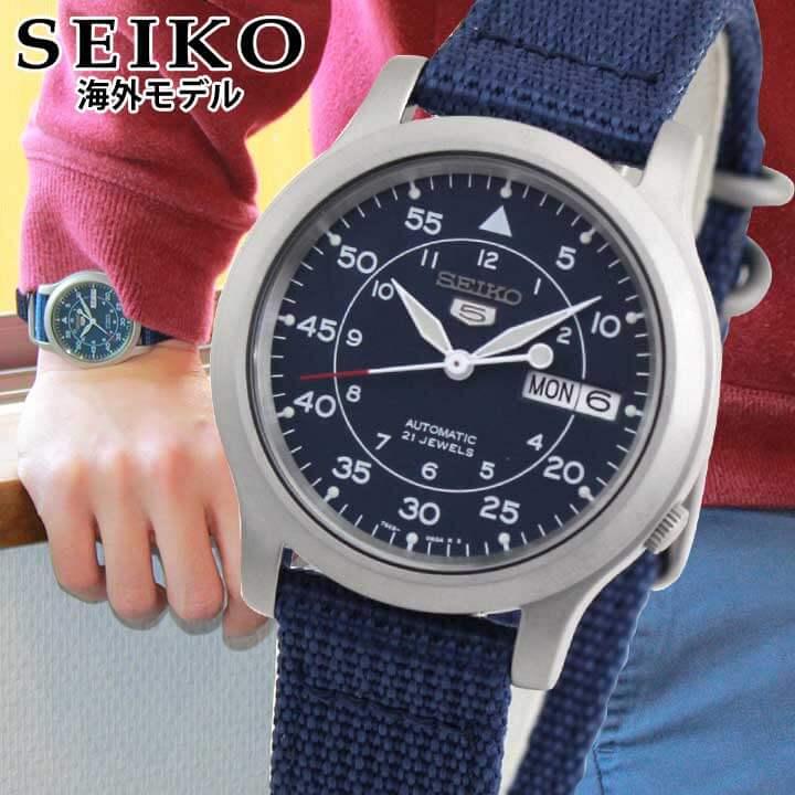 【先着!250円OFFクーポン】SEIKO5 セイコー ファイブ SNK807K2 アナログ 青 ブルー ネイビー デイデイト 自動巻き ナイロンベルト 腕時計 時計 メンズ 海外モデル 逆輸入 誕生日プレゼント 男性 ギフト ブランド
