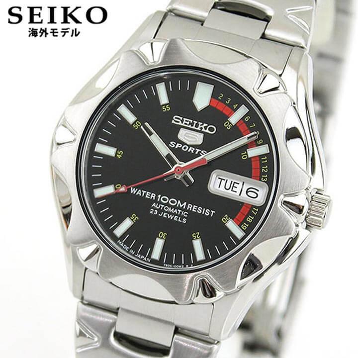 【送料無料】 SEIKO セイコー 逆輸入 海外モデル 5 SPORTS ファイブスポーツ SNZ449J1 メンズ 腕時計 メタル バンド 機械式 メカニカル 自動巻き ブラック シルバー