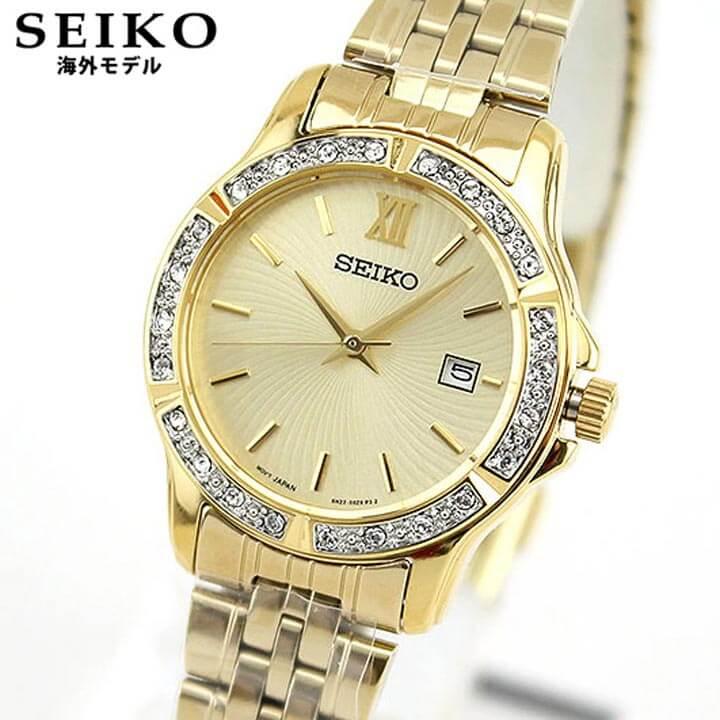 【送料無料】 SEIKO セイコー 逆輸入 海外モデル SUR728P1 レディース 腕時計 ウォッチ メタル バンド クオーツ アナログ 金 ゴールド 誕生日プレゼント 女性 ギフト