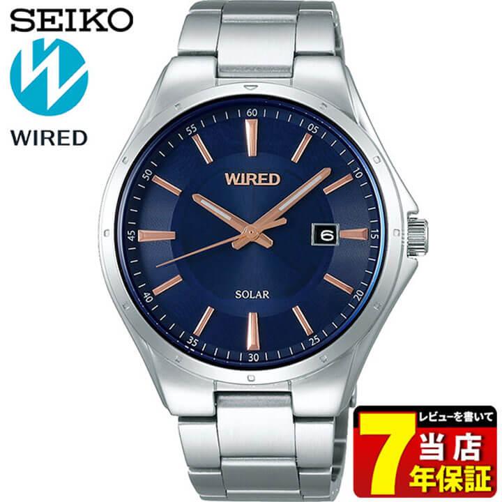 SEIKO セイコー WIRED ワイアード NEW STANDARD ニュースタンダード AGAD401 メンズ 腕時計 メタル ソーラー ピンクゴールド ブルー 国内正規品 商品到着後レビューを書いて7年保証