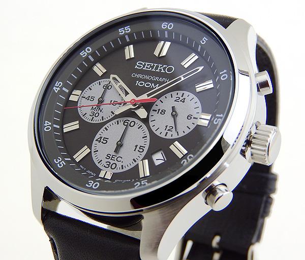 【】 SEIKO セイコー SKS595P1 海外モデル メンズ 腕時計 革ベルト レザー クオーツ アナログ 黒 ブラック グレー 海外モデル
