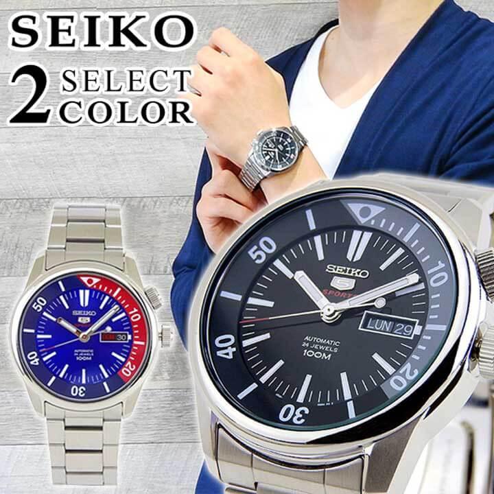 【送料無料】 SEIKO セイコー 逆輸入 海外モデル SRPB-SELECT メンズ 腕時計 メタル カレンダー 機械式 メカニカル 自動巻き カジュアル 黒 ブラック 赤 レッド 青 ブルー 銀 シルバー 海外モデル 誕生日プレゼント 男性 ギフト