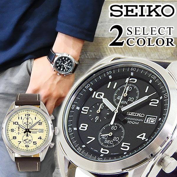 SEIKO セイコー 逆輸入 海外モデル SSB-SELECT2 メンズ 腕時計 革ベルト レザー クロノグラフ カレンダー クオーツ カジュアル アナログ 黒 ブラック 茶 ブラウン 海外モデル 誕生日 男性 ギフト プレゼント ブランド
