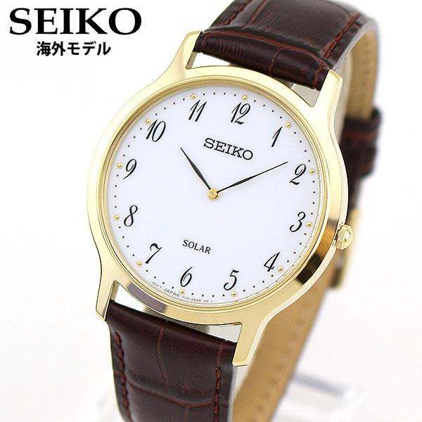 【先着!250円OFFクーポン】SEIKO セイコー 海外モデル SUP860P1 メンズ 腕時計 革ベルト レザー ソーラー アナログ ブラウン 白 ホワイト 金 ゴールド 逆輸入 誕生日プレゼント 男性 ギフト ブランド