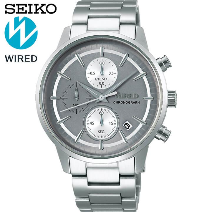 【先着!250円OFFクーポン】SEIKO セイコー WIRED ワイアード TOKYO SORA メンズ 腕時計 メタル クロノグラフモデル 白系 グレー 銀 シルバー 誕生日プレゼント 男性 ギフト AGAT431 国内正規品 商品到着後レビューを書いて7年保証