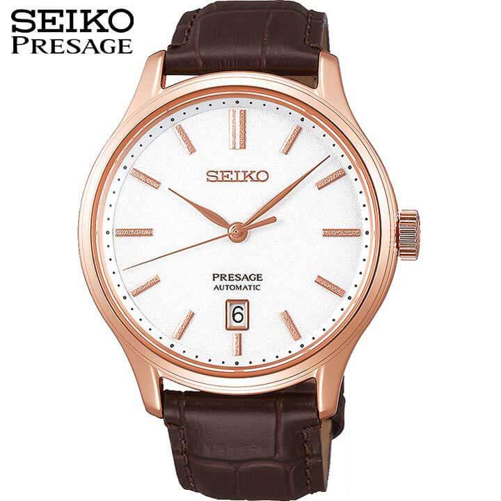 【今治タオル付き】SEIKO セイコー PRESAGE プレザージュ SARY142 メンズ 腕時計 革ベルト レザー 機械式 メカニカル 自動巻き アナログ 白 ホワイト 茶 ブラウン ピンクゴールド誕生日 男性 ギフト プレゼント