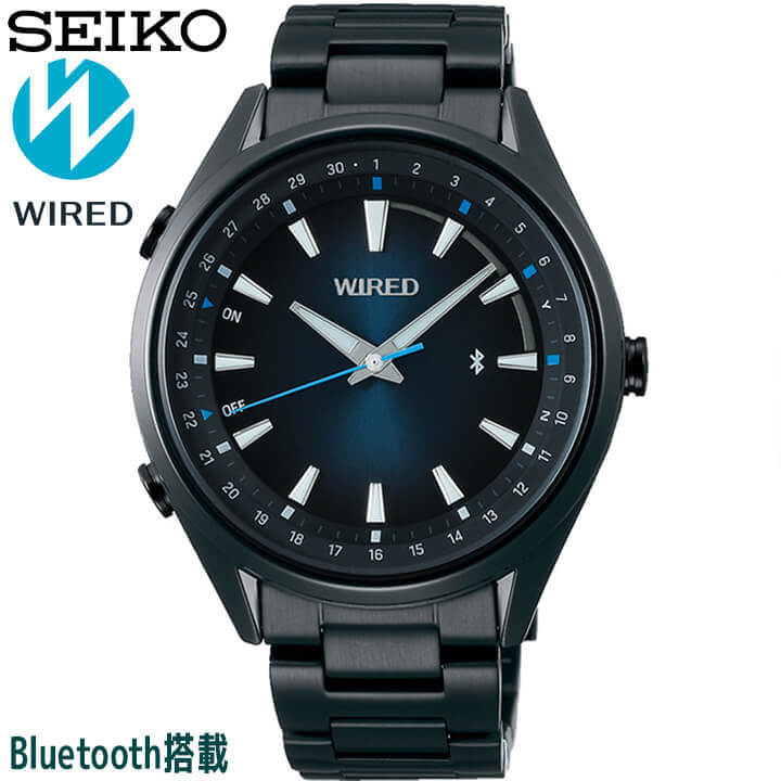 SEIKO セイコー WIRED ワイアード TOKYO SORA Bluetoothリンク時刻修正機能搭載 メンズ 腕時計 時計 黒 ブラック 青 ブルー AGAB413 誕生日プレゼント 男性 ギフト 国内正規品 商品到着後レビューを書いて7年保証