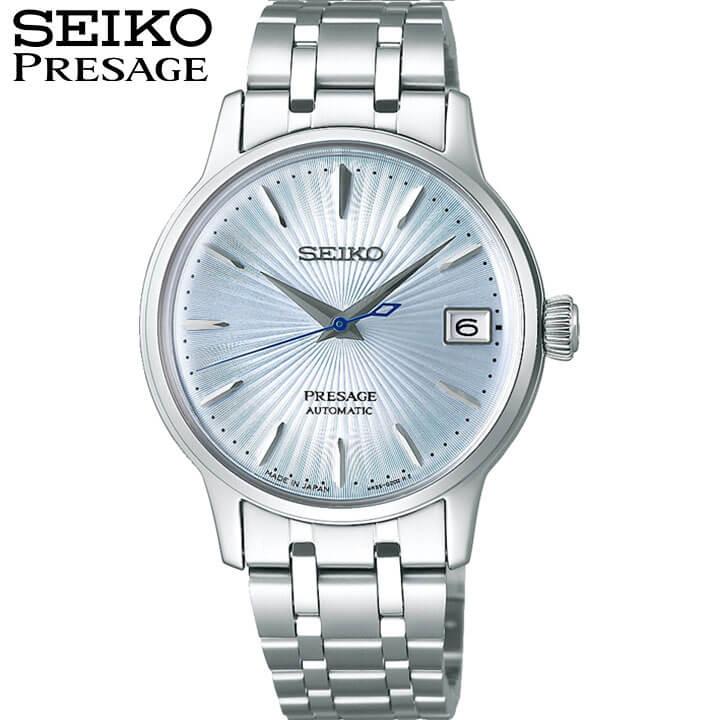 【今治タオル付き】SEIKO セイコー PRESAGE プレザージュ ベーシックライン 自動巻き レディース 腕時計 メタル 青 ブルー 銀 シルバー 誕生日 女性 ギフト プレゼント SRRY041 国内正規品