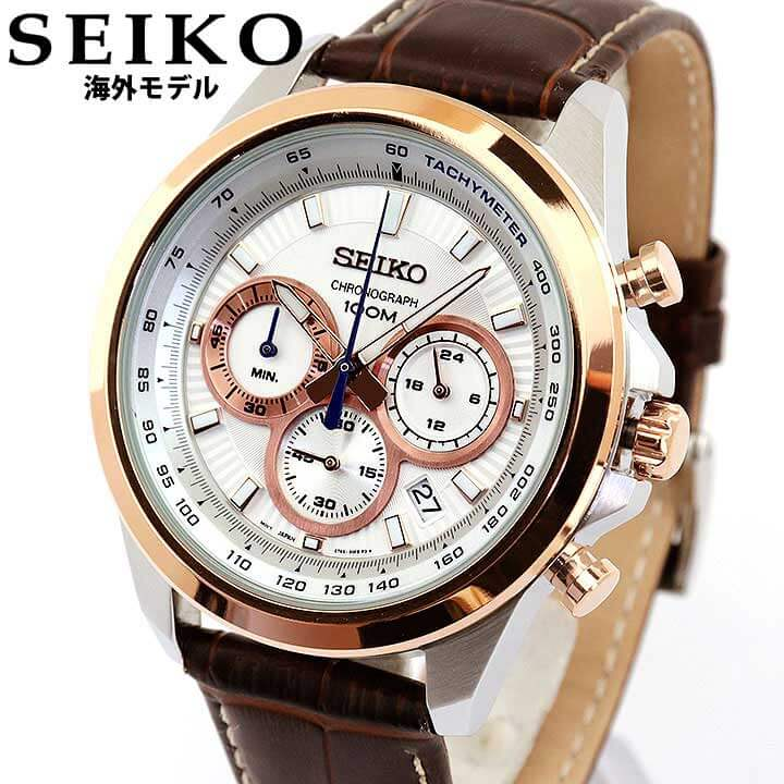 SEIKO セイコー 海外SEIKO メンズ 腕時計 革ベルト レザー クロノグラフ カレンダー クオーツ 茶 ブラウン シルバー ローズゴールド SSB250P1 誕生日 男性 ギフト プレゼント 海外モデル