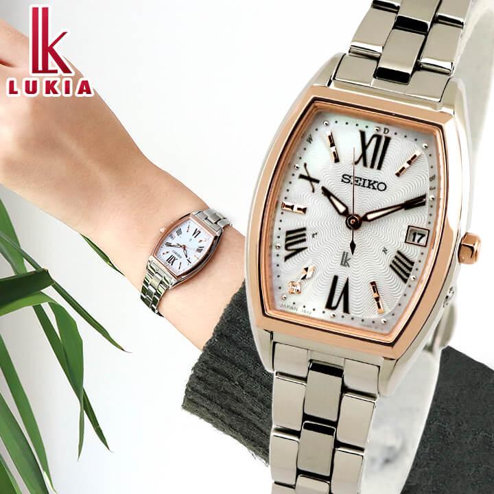 SEIKO セイコー LUKIA ルキア 限定 ソーラー電波 レディース 腕時計 白 ホワイト 銀 シルバー 白蝶貝 ローズゴールド 誕生日 女性 ギフト プレゼント SSVW168 国内正規品 新社会人