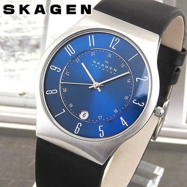 SKAGEN スカーゲン 233XXLSLN 海外モデル メンズ 腕時計 ウォッチ 革ベルト レザー クオーツ アナログ 黒 ブラック 青 ブルー 銀 シルバー 北欧デザイン