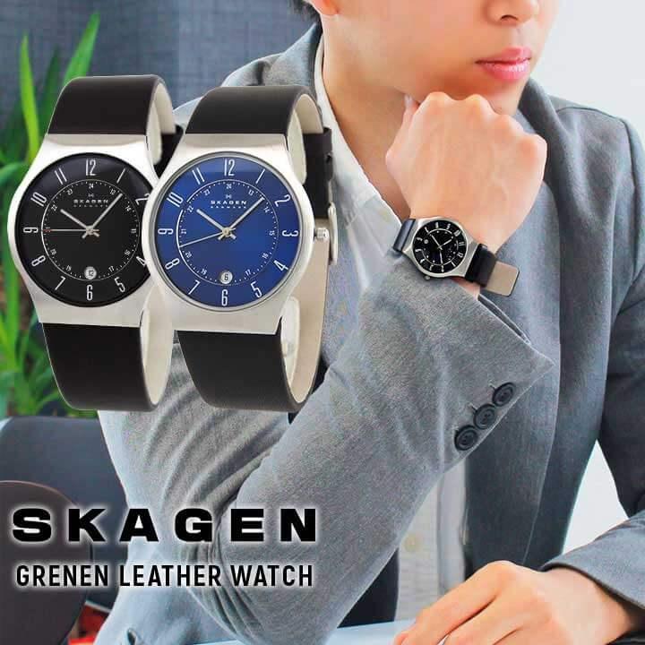 【BOX訳あり】SKAGEN スカーゲン メンズ ウルトラスリム GRENEN 腕時計 革ベルト レザー ビジネス スーツ 日付カレンダー 黒 ブラック 青 ブルー 銀 シルバー 北欧デザイン 海外モデル 誕生日プレゼント ギフト