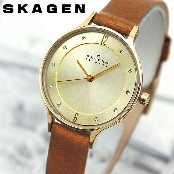 SKAGEN スカーゲン ANITA アニタ SKW2147 海外モデル レディース 腕時計 ウォッチ 革ベルト レザー 茶 ブラウン 金 ゴールド 北欧デザイン ブランド