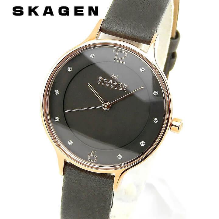 SKAGEN スカーゲン Anita アニタ レディース 腕時計 革ベルト レザー クオーツ アナログ グレー 誕生日プレゼント 女性 ギフト SKW2267 海外モデル ブランド