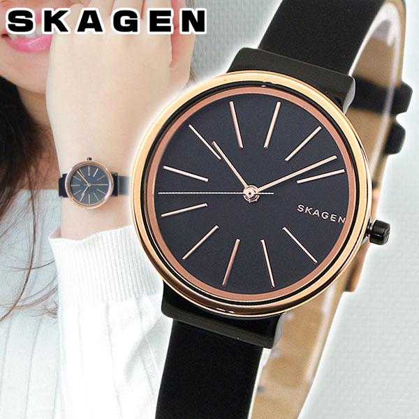 【送料無料】 SKAGEN スカーゲン ANCHER アンカー SKW2480 レディース 腕時計 革ベルト レザー 黒 ブラック ピンクゴールド ローズゴールド 海外モデル