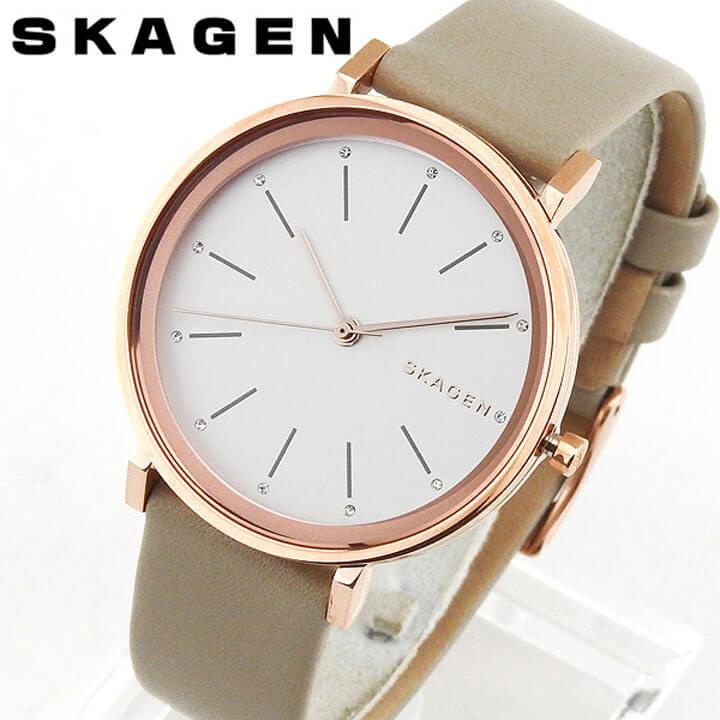 【送料無料】 SKAGEN スカーゲン HALD ハルド SKW2489 海外モデル レディース 腕時計 ウォッチ 革ベルト レザー クオーツ カジュアル アナログ 白 ホワイト グレーベージュ