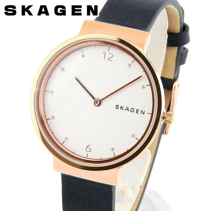 【送料無料】SKAGEN スカーゲン SKW2608 アンカー ANCHER レディース 腕時計 レザー クオーツ アナログ ネイビー 白 ホワイト ピンクゴールド ローズゴールド 海外モデル