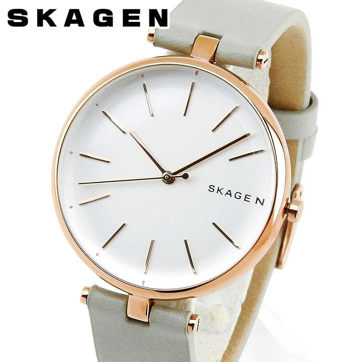 【送料無料】SKAGEN スカーゲン シグネチャー SKW2710 レディース 腕時計 革ベルト レザー ピンクゴールド ローズゴールド グレー クリスマス 誕生日プレゼント 女性 ギフト 海外モデル