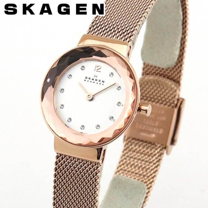SKAGEN スカーゲン レディース 腕時計 時計 SKW2799 メッシュ クオーツ LEONORA レオノラ カジュアル アナログ 白 ホワイト ピンクゴールド ローズゴールド 誕生日 女性 ギフト プレゼント 海外モデル シンプル おしゃれ 薄い 軽い