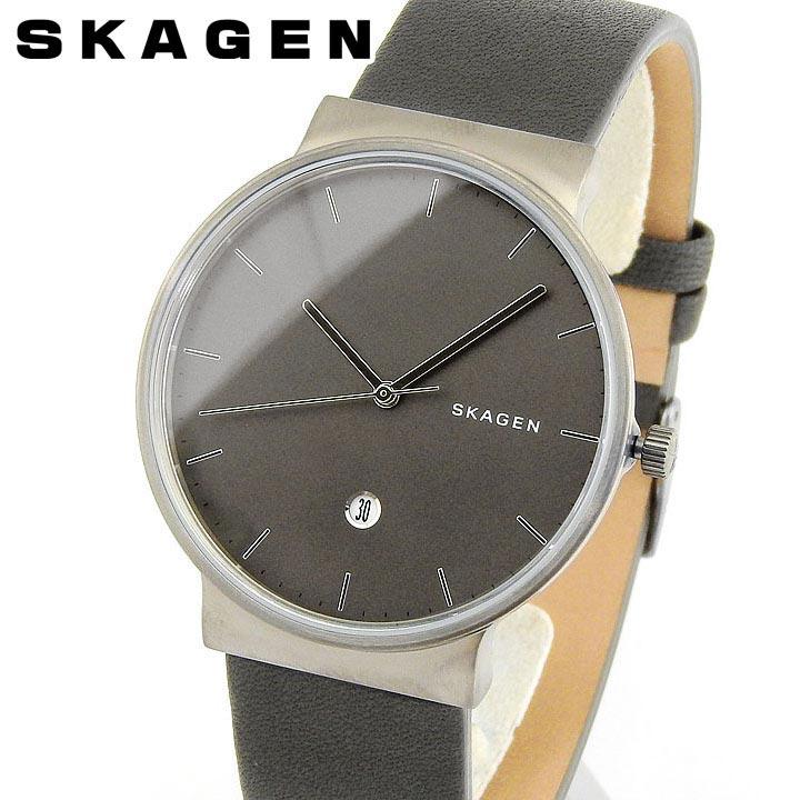 【送料無料】SKAGEN スカーゲン ANCHER アンカー SKW6320 メンズ 腕時計 革ベルト レザー グレー シルバー 誕生日プレゼント 男性 ギフト 海外モデル