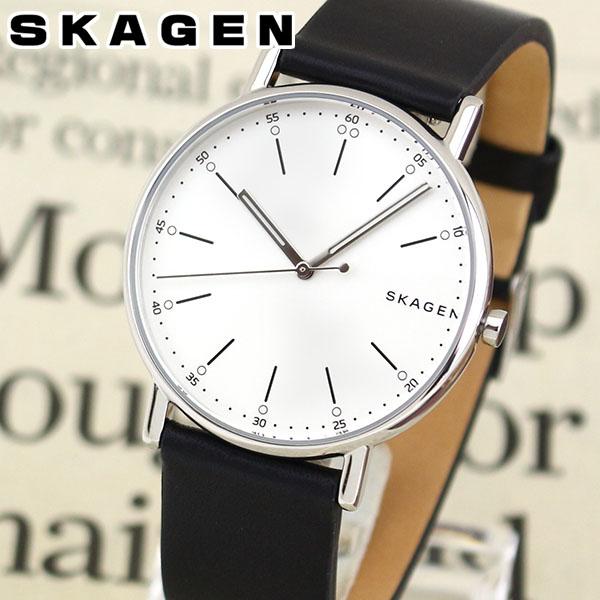 【送料無料】 SKAGEN スカーゲン Signatur シグネチャー SKW6353 メンズ 腕時計 革ベルト レザー 黒 ブラック シルバー 海外モデル