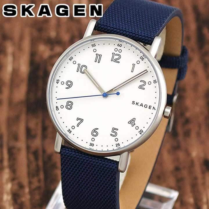SKAGEN スカーゲン SIGNATUR シグネチャー SKW6356 メンズ 腕時計 革ベルト レザー ナイロン 白 ホワイト 青 ネイビー 海外モデル 誕生日プレゼント 男性 ギフト ブランド