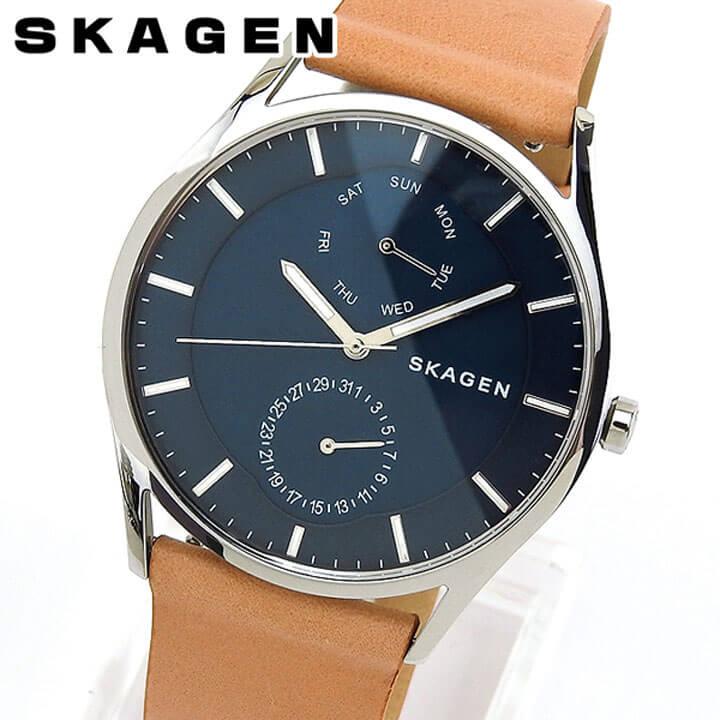【送料無料】 SKAGEN スカーゲン SKW6369 メンズ 腕時計 革ベルト レザー カレンダー クオーツ カジュアル ビジネス スーツ アナログ 青 ネイビー 茶 ブラウン 就職祝い 誕生日プレゼント 男性 ギフト 海外モデル