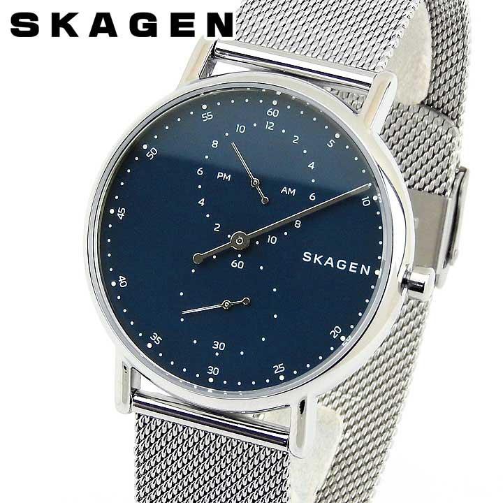 【先着!250円OFFクーポン】SKAGEN スカーゲン シグネチャー SKW6389 メンズ 腕時計 メタル 青 ネイビー 銀 シルバー 誕生日プレゼント 男性 ギフト 海外モデル ブランド