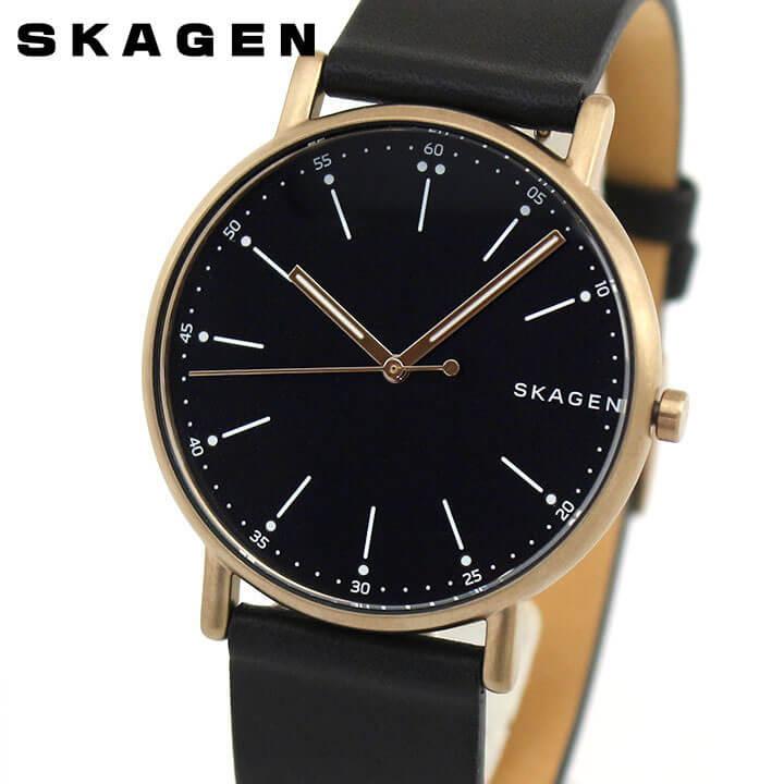 SKAGEN スカーゲン シグネチャー SKW6401 メンズ 腕時計 革ベルト レザー 黒 ブラック 誕生日プレゼント 男性 ギフト 海外モデル ブランド