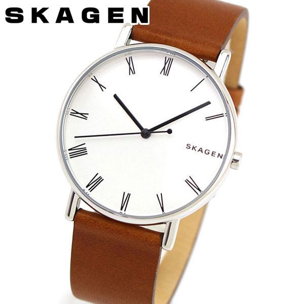 【送料無料】 SKAGEN スカーゲン シグネチャー SKW6427 メンズ 腕時計 革ベルト レザー 茶 ブラウン 銀 シルバー 誕生日プレゼント 男性 ギフト 海外モデル