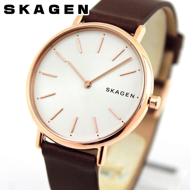 SKAGEN スカーゲン SKW8200 レディース 女性 腕時計 革ベルト レザー 白 ホワイト ブラウン 茶 海外モデル 誕生日プレゼント ギフト ブランド