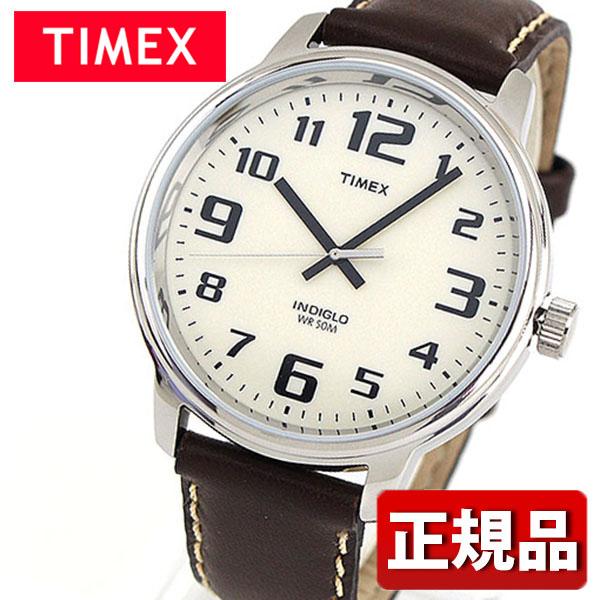 メーカー1年保証 TIMEX タイメックス Big easy Reader ビッグイージーリーダー TIMEX-T28201 国内正規品 メンズ 腕時計 ウォッチ 革ベルト レザー クオーツ カジュアル アナログ 白 ホワイト 茶 ブラウン