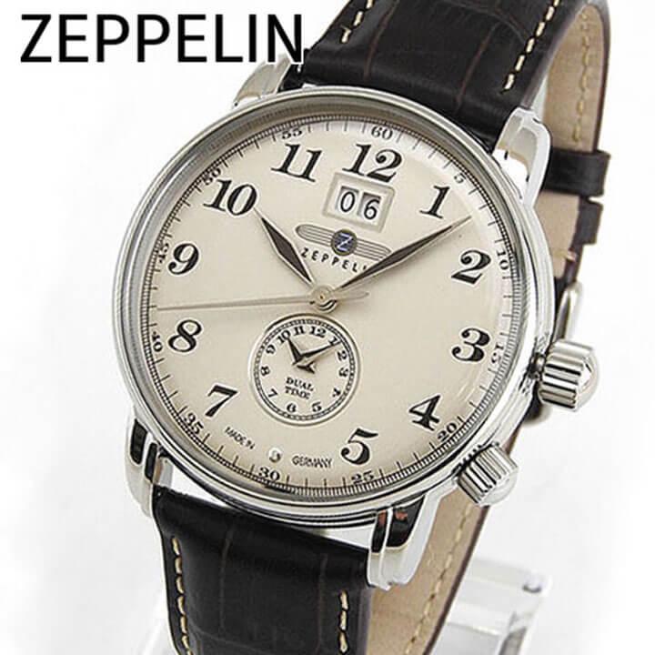 【本体ケース側面訳あり】【送料無料】Zeppelin ツェッペリン LZ127 Graf Zeppelin グラーフ・ツェッペリン 7644-5 メンズ 腕時計 ウォッチ 茶 ブラウン アイボリー 卒業祝い 入学祝い ギフト ブランド