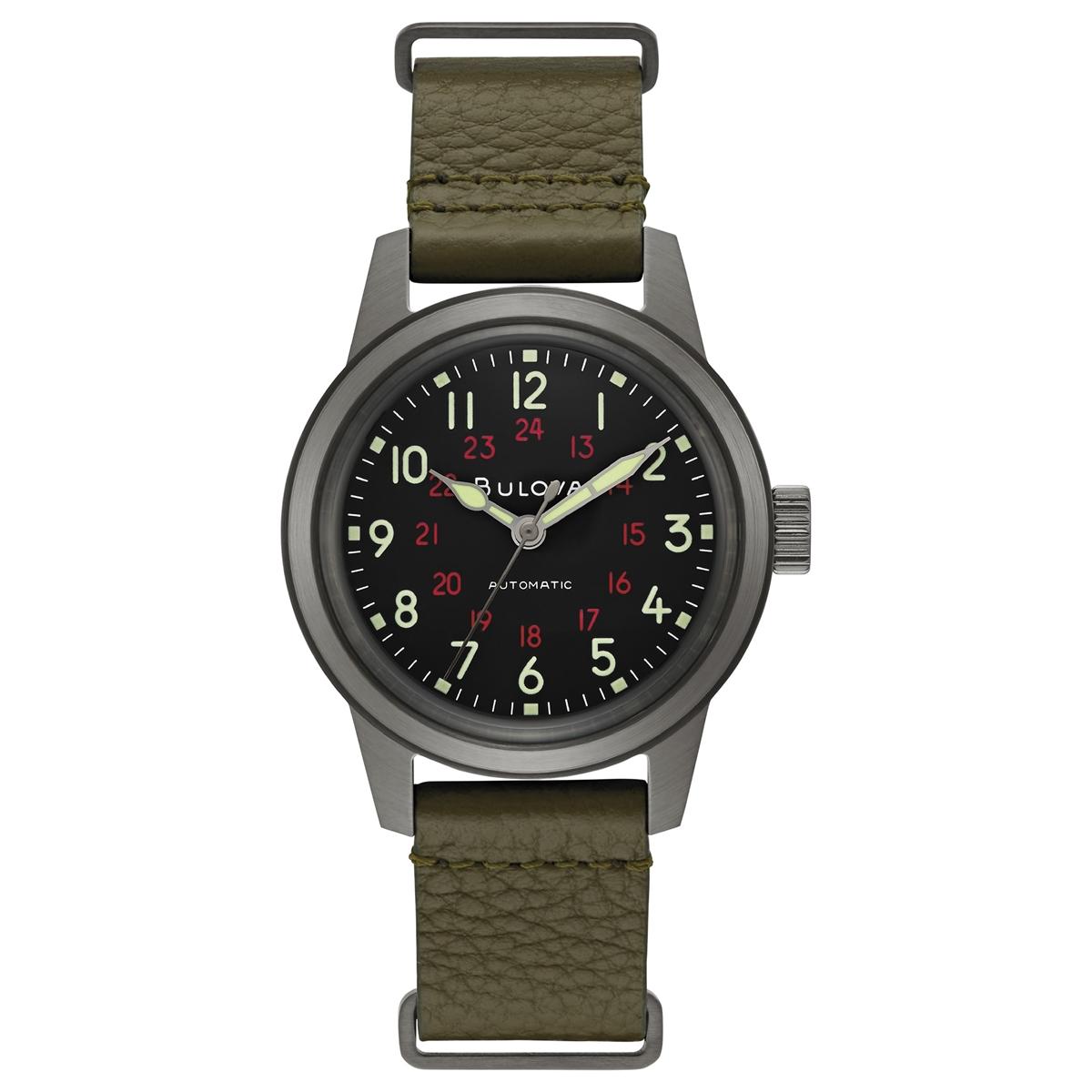 【5/10までオリジナルトラベルクロックをプレゼント】 ブローバ BULOVA 98A255 ミリタリー オートマチック 正規品 腕時計