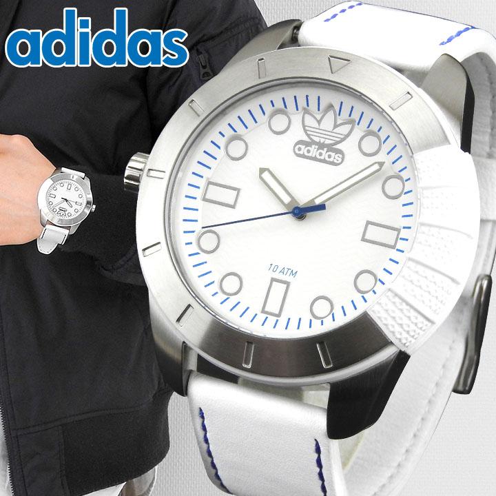 【送料無料】adidas アディダス SUPERSTAR スーパースター 白 メンズ 腕時計 ウォッチ 防水 革ベルト レザー ホワイト ADH3036 海外モデル 誕生日プレゼント 男性 ギフト