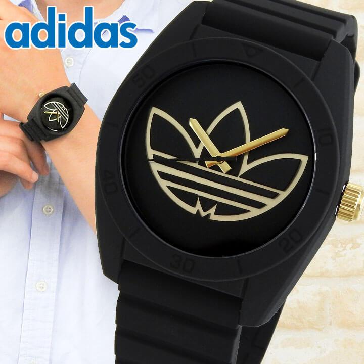 adidas アディダス SANTIAGO サンティアゴ メンズ 腕時計 シリコン ラバー バンド 黒 ブラック 金 ゴールド カジュアル アナログ クオーツ ADH3197 海外モデル 誕生日プレゼント 男性 ギフト