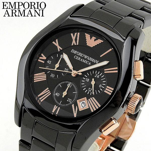 EMPORIO ARMANI エンポリオアルマーニ AR1410 海外モデル メンズ 腕時計 ウォッチ watch 黒 ブラック ピンクゴールド 誕生日プレゼント 男性 バレンタイン ギフト
