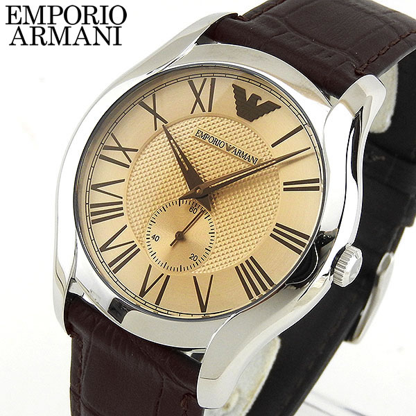【送料無料】EMPORIO ARMANI エンポリオアルマーニ メンズ 腕時計 時計 ウォッチ watch 茶 ブラウン 革ベルト レザー AR1704 海外モデル 誕生日プレゼント 男性 ギフト