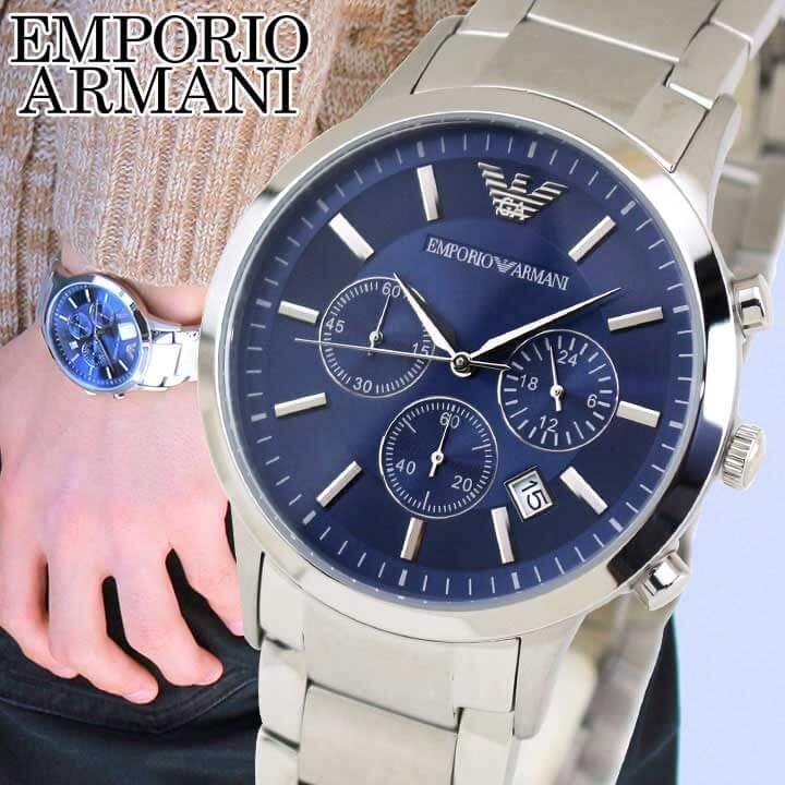 【先着!250円OFFクーポン】EMPORIO ARMANIエンポリオアルマーニ メンズ 青 銀 ブルー シルバー 腕時計 時計 watch ウォッチ 海外モデル AR2448 誕生日プレゼント 男性 ギフト