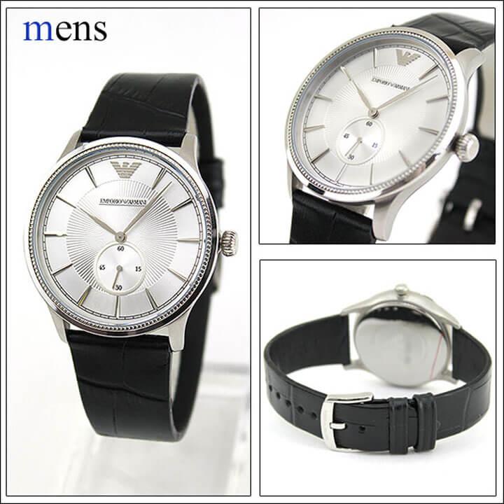 41334013d3 EMPORIOARMANIエンポリオアルマーニペアウォッチAR9111海外モデルメンズレディース腕時計革バンドレザー黒ブラック