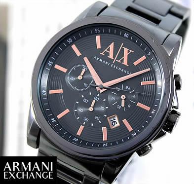 ARMANI EXCHANGE ax armani exchange アルマーニエクスチェンジ クロノグラフ メンズ 腕時計 時計 メタル バンド ガンメタルカラー AX2086 海外モデル 誕生日プレゼント 男性 ギフト