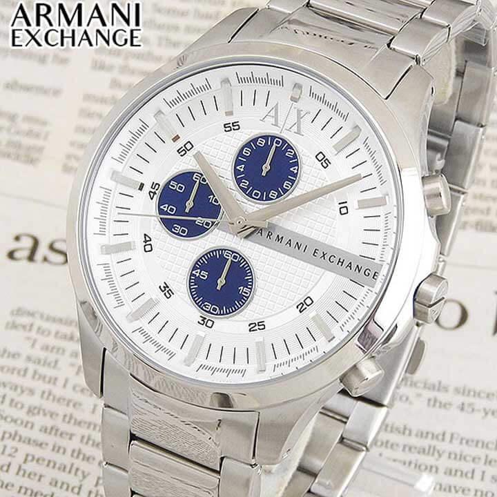 【送料無料】ARMANI EXCHANGE ax armani exchange アルマーニ エクスチェンジ メンズ 腕時計 時計 ウォッチ watch メタル バンド 白 銀 ホワイト シルバー クオーツ アナログ AX2136 海外モデル 誕生日プレゼント 男性 ギフト