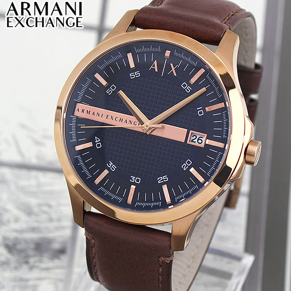 【送料無料】 ARMANI EXCHANGE アルマーニ エクスチェンジ 時計 メンズ 腕時計 ウォッチ おしゃれ ブランド AX2172 革ベルト レザー 青 ネイビー ピンクゴールド ローズゴールド 海外モデル 誕生日プレゼント 男性 ギフト